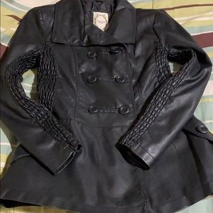 Faux Leather Double Breasted Fitted Coat. EUC